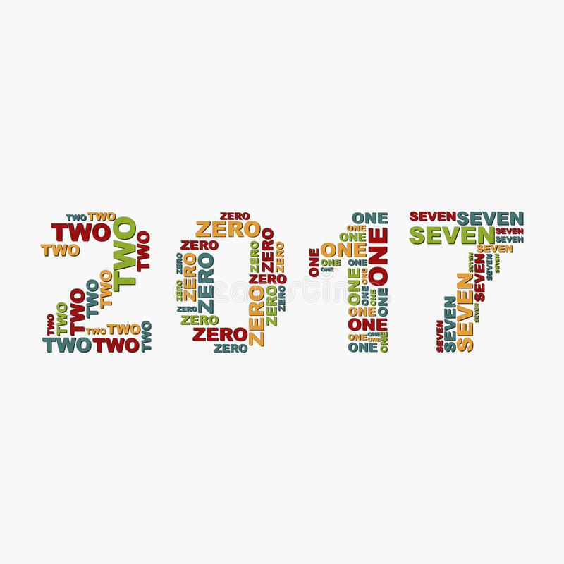 Christmas numbers for 2017 New Year of the words.  vector illustration