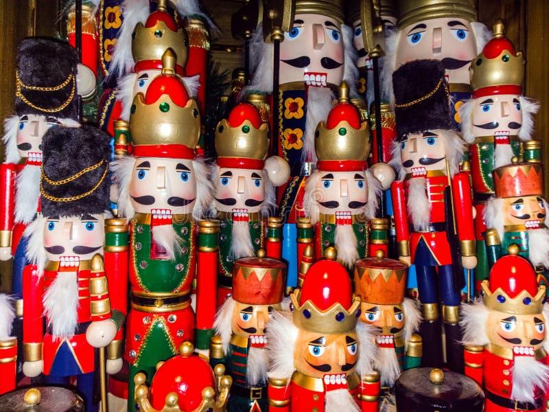 Christmas nutcracker toy soldier collection. Various traditional. Christmas nutcrackers stand together as decoration stock photos