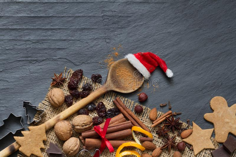Christmas Nuts and Spices mix for baking cookies royalty free stock images