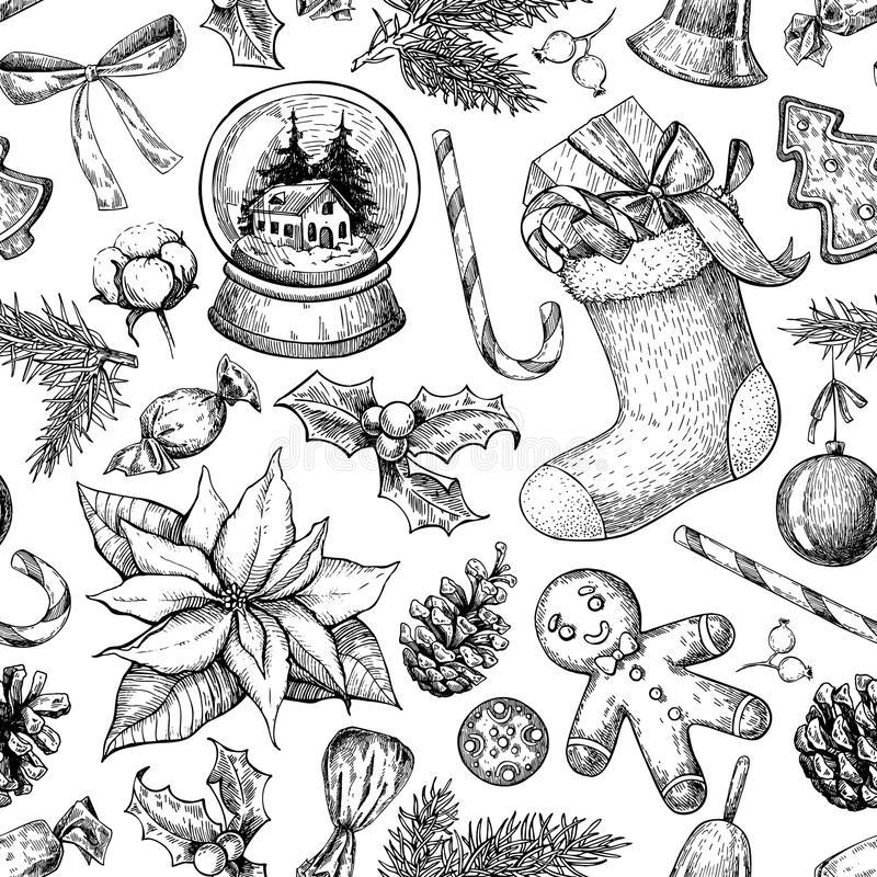Free Christmas Object Seamless Pattern. Hand Drawn Vector Background. Stock Images - 79171854