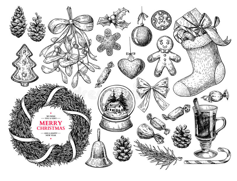 Christmas object set. Hand drawn vector illustration. Xmas icons vector illustration