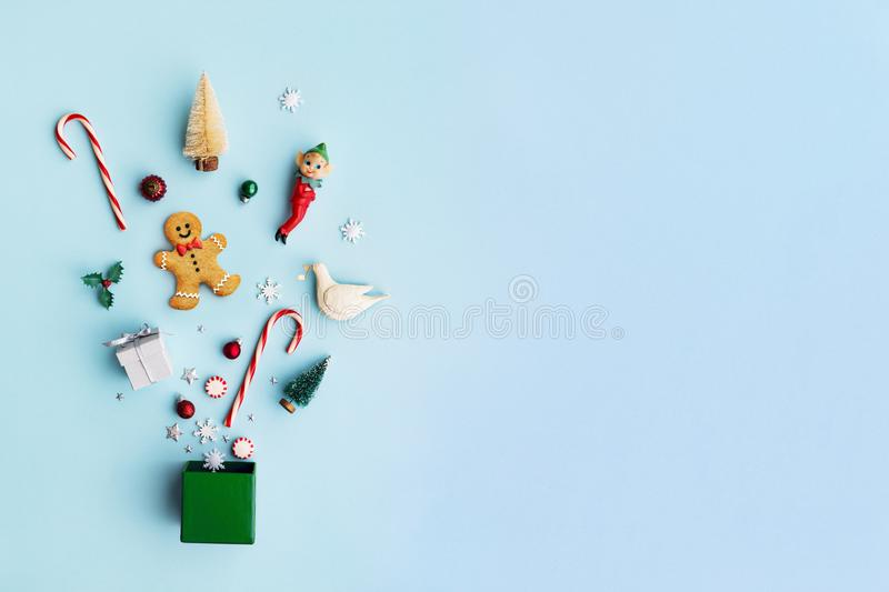 Christmas objects in a gift box stock photos