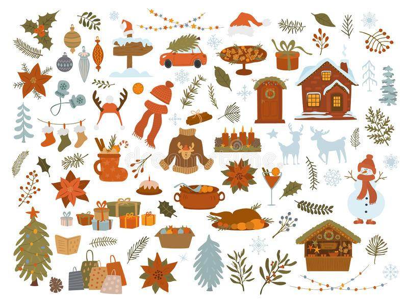 Christmas objects items set, xmas tree, lights gifts, house, car, decoration, foliage isolated vector illustration graphic. Merry christmas objects items set stock illustration