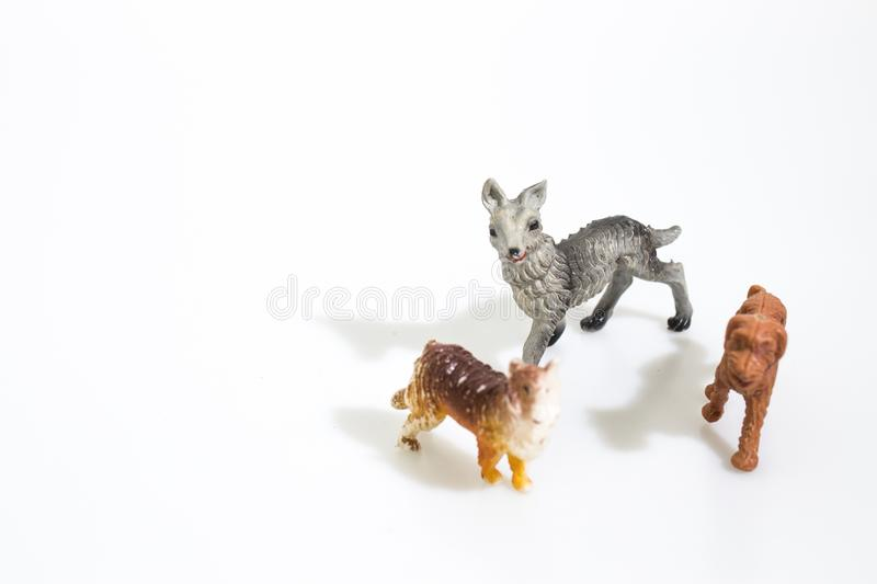 Christmas objects, plastic animals dogs for nativity diorama iso stock photo