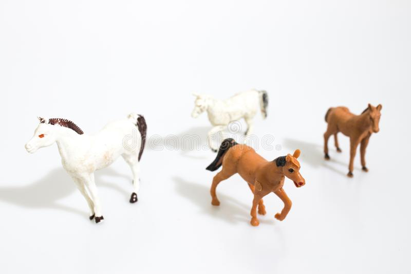 Christmas objects, plastic animals horses for nativity diorama royalty free stock image