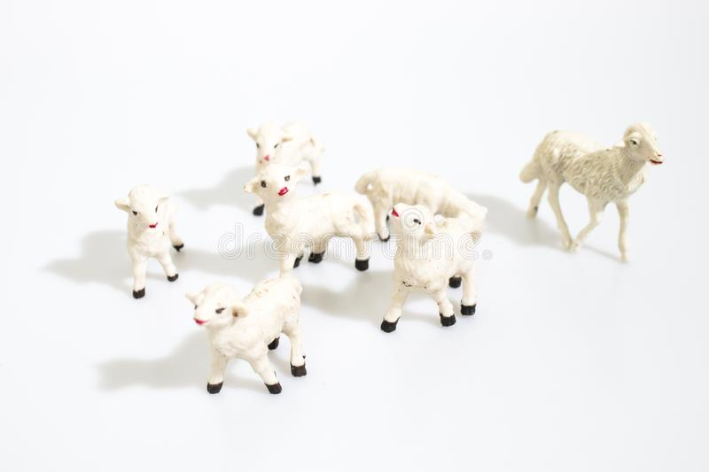 Christmas objects, plastic animals sheeps for nativity diorama i royalty free stock images