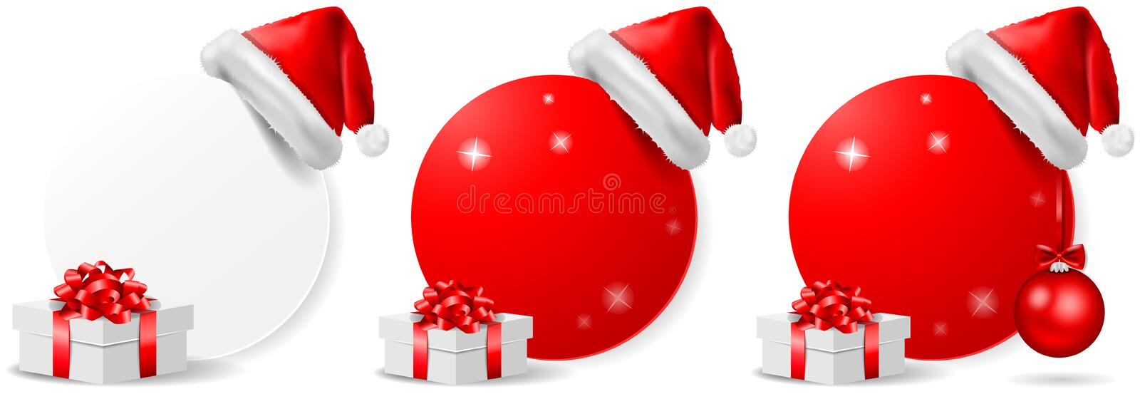 Christmas offer action button isolated vector set. Design vector illustration