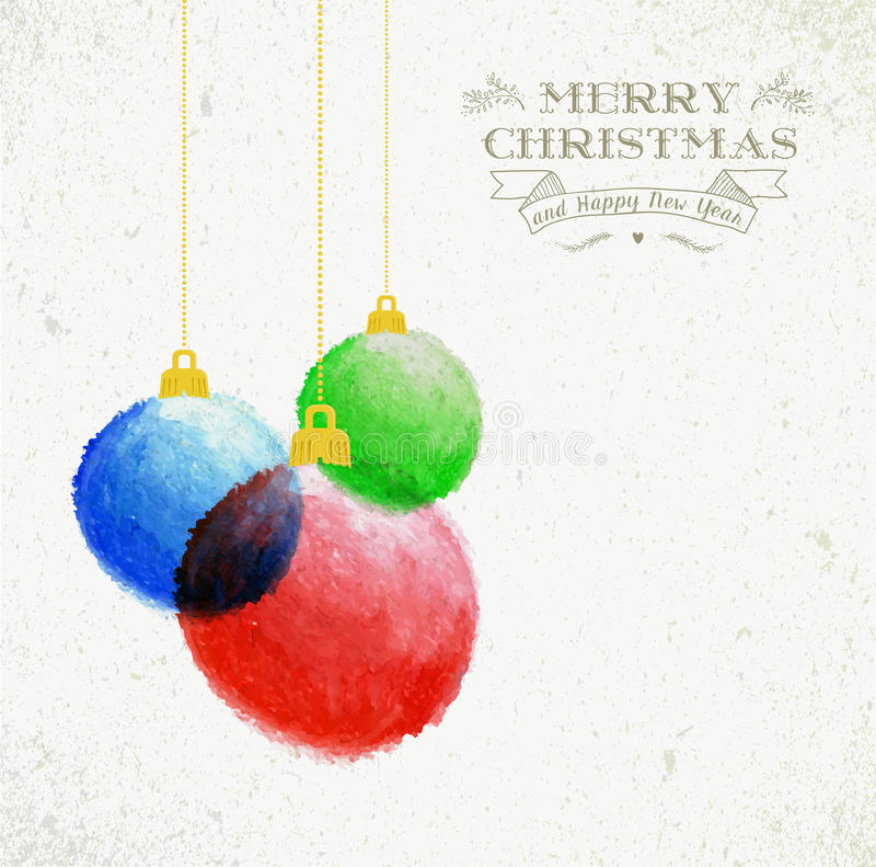 Christmas oil pastel baubles hand drawn illustration stock photography