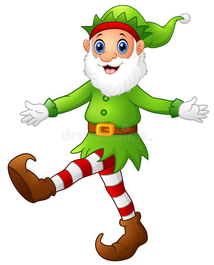 Christmas old elf dancing royalty free illustration