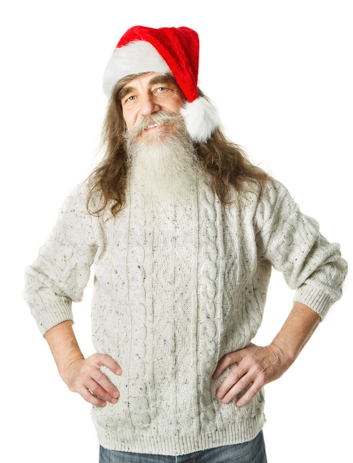 Download Christmas Old Man With Beard In Red Hat, Santa Claus Stock Photo - Image of cutout, humor: 33924126