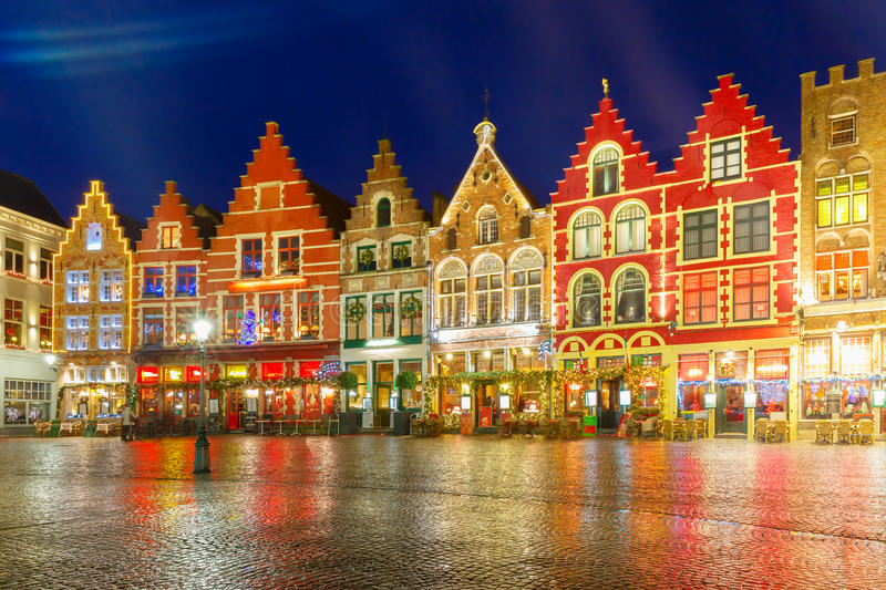 Christmas Old Market square in Bruges. Christmas Decorated and illuminated Old Markt square in the center of Bruges, Belgium royalty free stock image