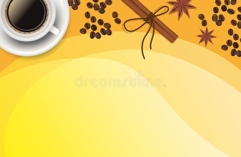 Christmas orange positive background with Xmas decoration - cinnamon, coffee. royalty free stock photography