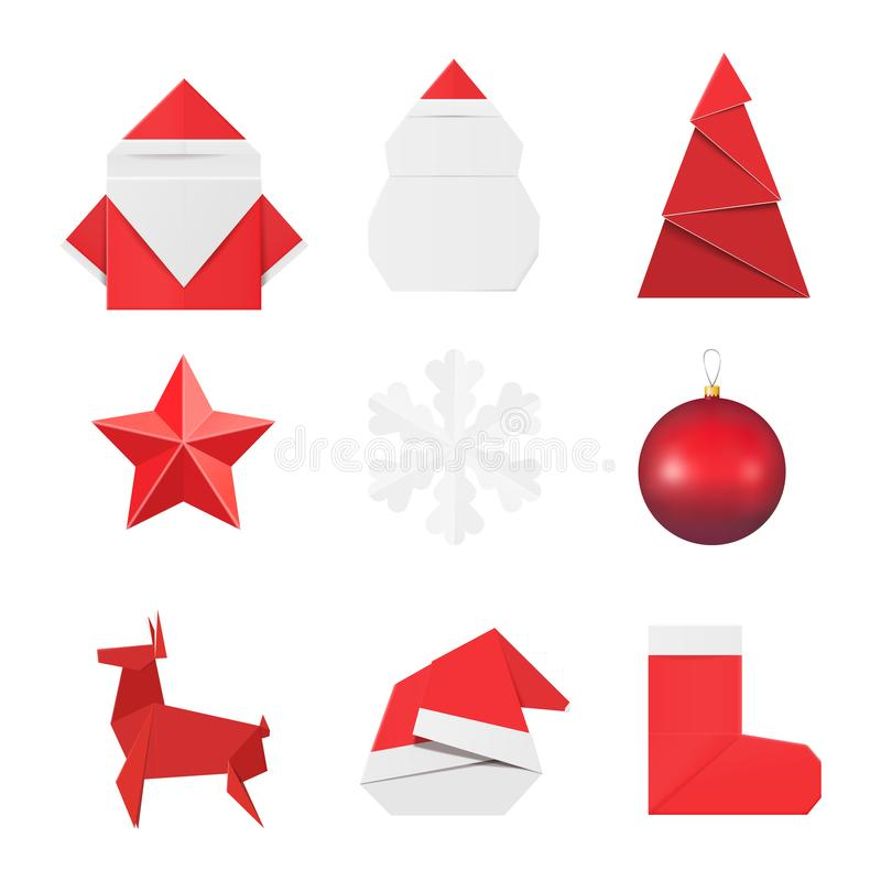 Christmas origami ornaments and decorations: paper Santa Claus and snowman, fir, star, snowflake, glass ball toy, deer red hat and royalty free illustration