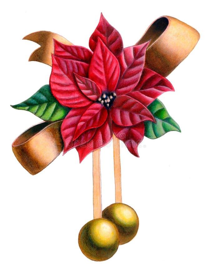 Christmas ornament. Christmas composition. Hand drawn illustration stock illustration