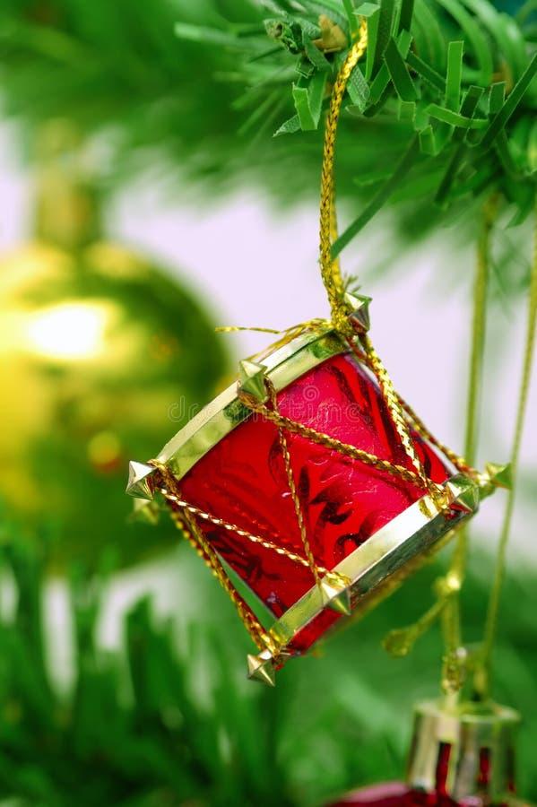 Christmas ornament. Drum ornament on Christmas tree stock image