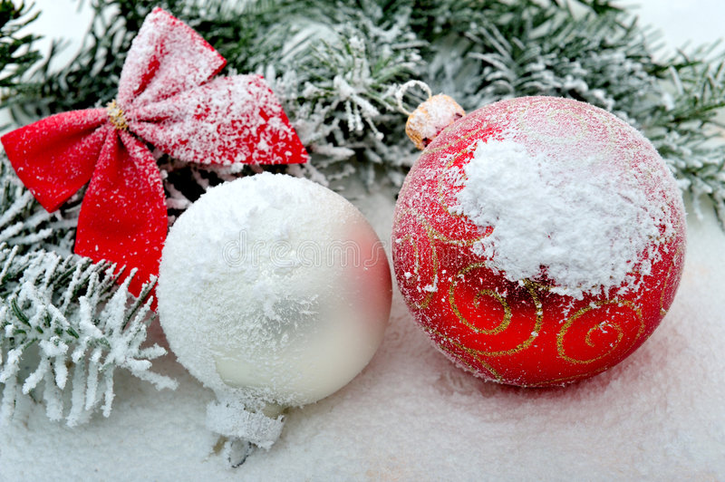 Christmas ornament. S and branch with snow - studio shot royalty free stock photos