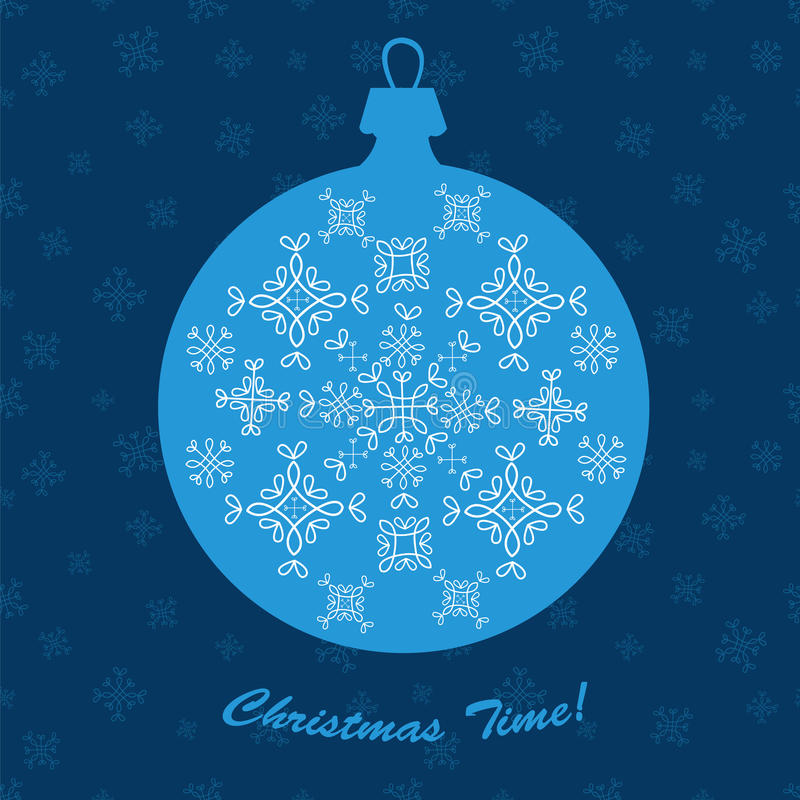 Christmas ornament ball new year decoration blue vector card. royalty free illustration