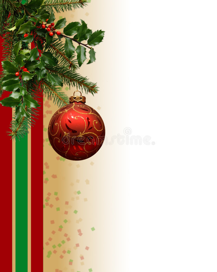 Christmas Ornament Border. Christmas-themed vertical border/background with real evergreen tree branch, holly, and decorated ornament. Greenery also available stock photos