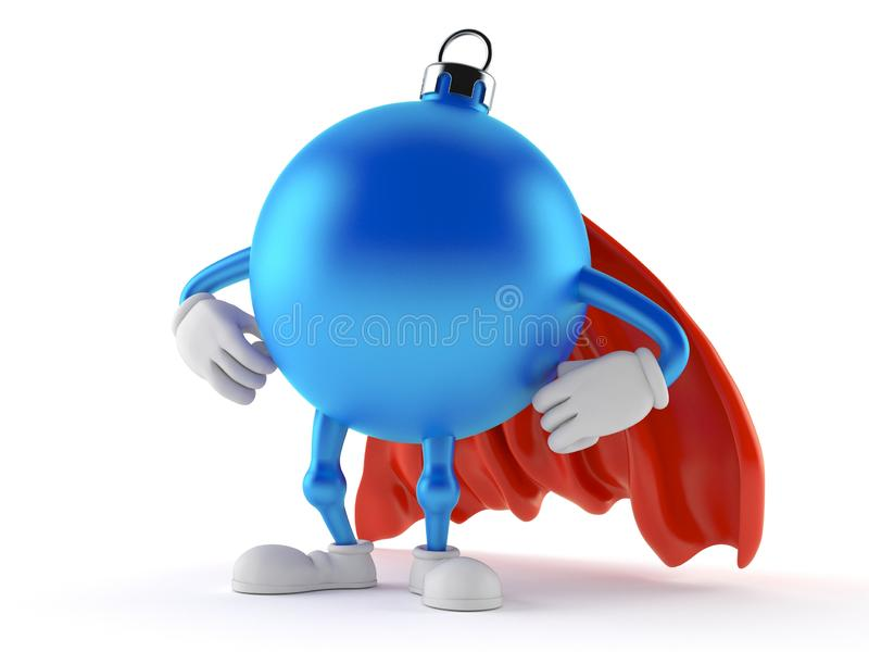 Christmas ornament character with hero cape. Isolated on white background. 3d illustration royalty free illustration
