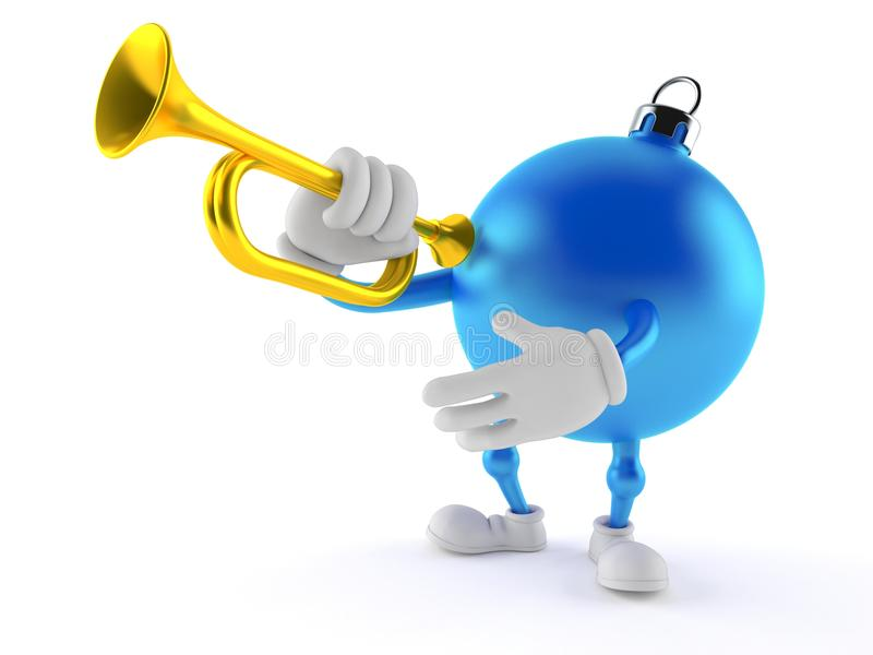 Christmas ornament character playing the trumpet. On white background stock illustration