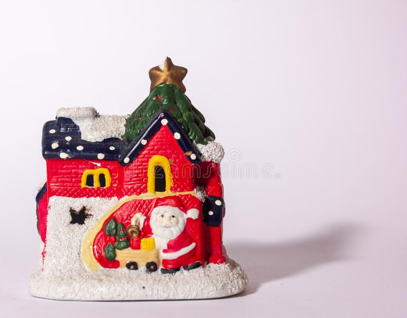 Christmas ornament depicting the house of Santa Claus. royalty free stock images