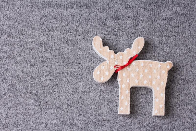 Christmas ornament flat lay on grey knitted plaid stock photography