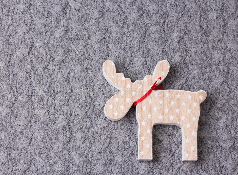 Christmas ornament flat lay on grey knitted plaid stock image