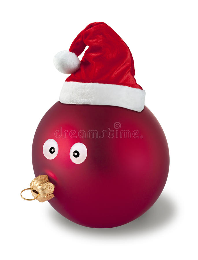 Christmas Ornament Fun. A christmas ornament with a face and santa hat on a white background stock image