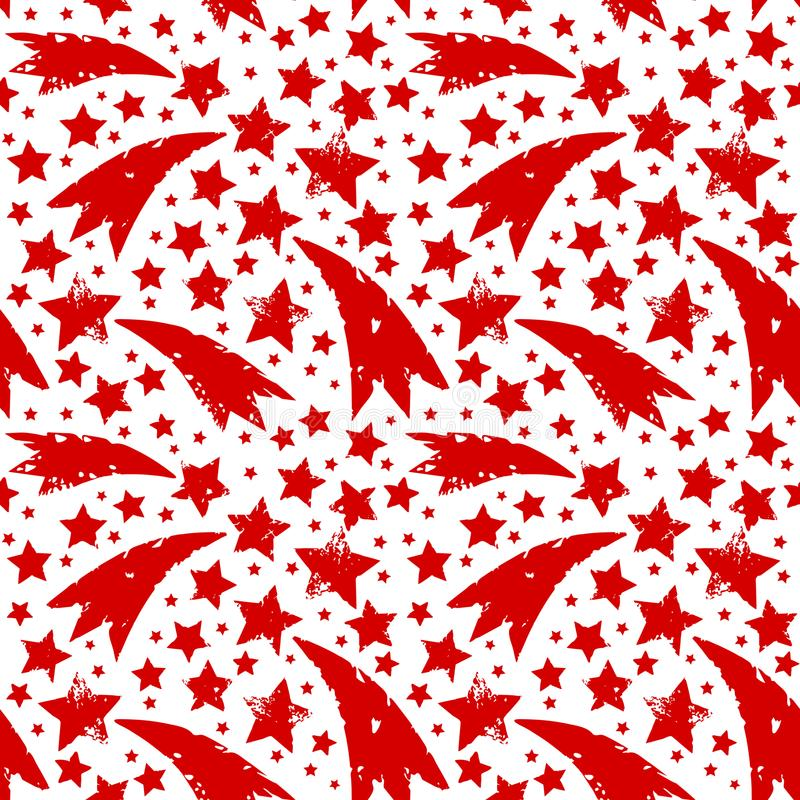Christmas ornament with grungy xmas red stars. stock illustration