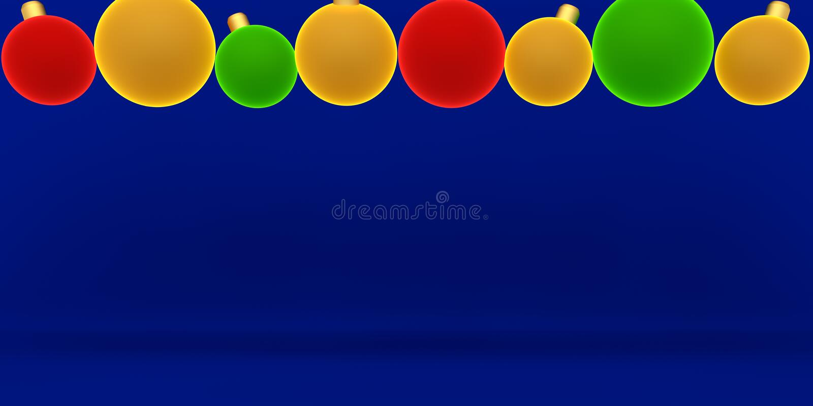 Christmas ornament and light tube for Chrismas and newyear background graphic resource 3D rendering stock illustration