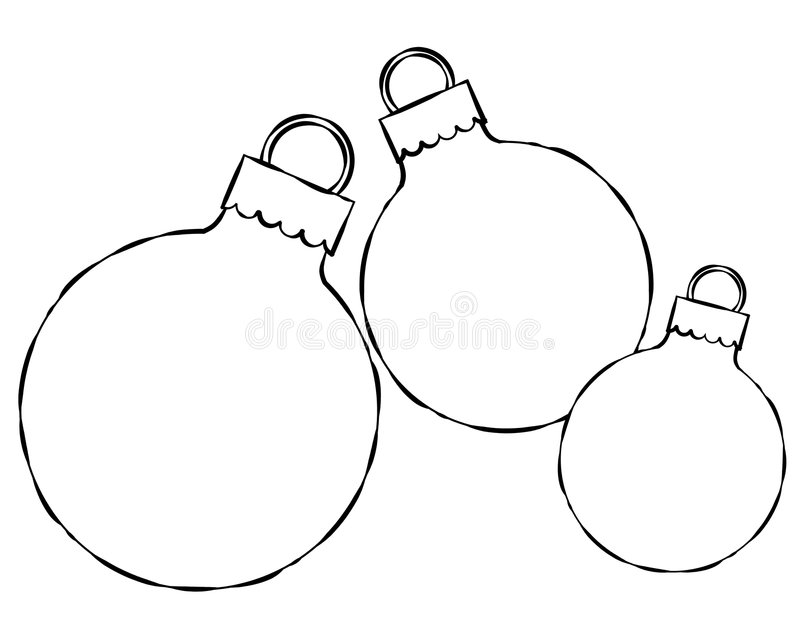 Christmas Ornament Line Art. An illustation featuring a group of 3 simple Christmas ornaments ideal for custom text. Line art (black and white illustrations) are stock illustration