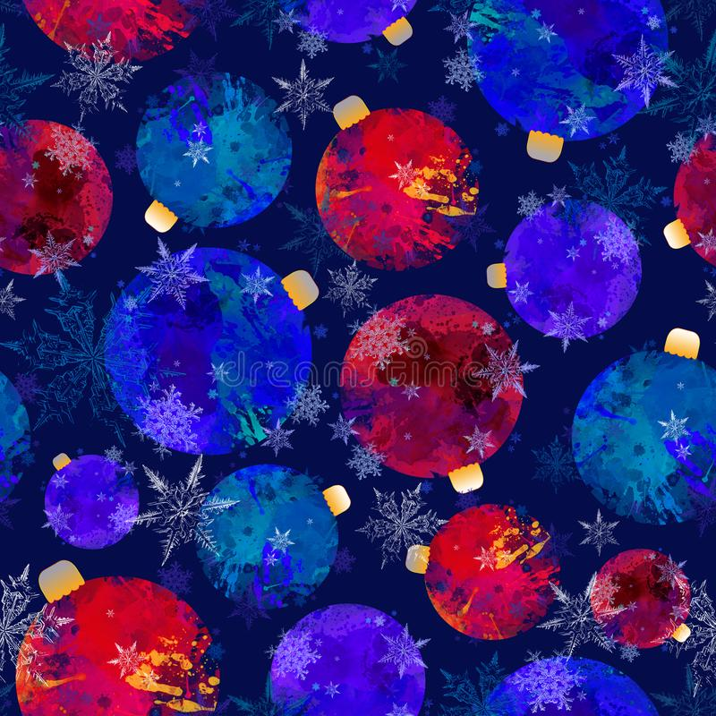Christmas Ornament Seamless Pattern on Blue Background. Christmas, New Year, and Winter Holidays Seamless Design for Print, Wallpaper, Upholstery and Fashion vector illustration