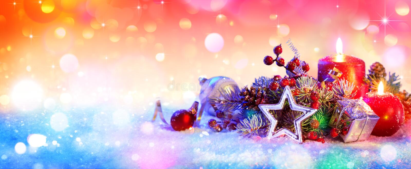 Christmas Ornament On Snow , Christmas background stock image