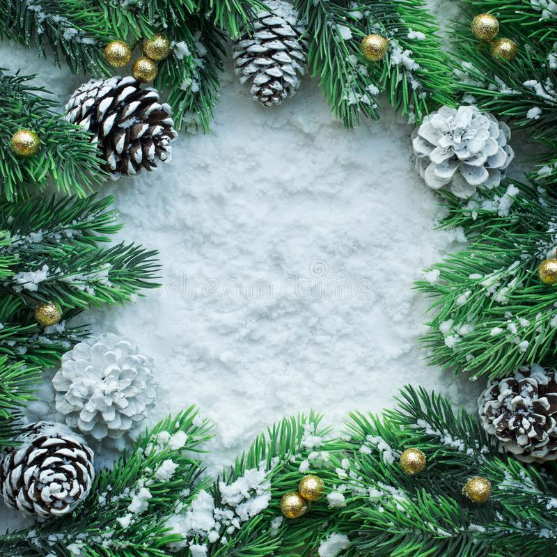 Free Christmas Ornament With ,pine Branch And Copy Space Background Stock Photo - 101946380