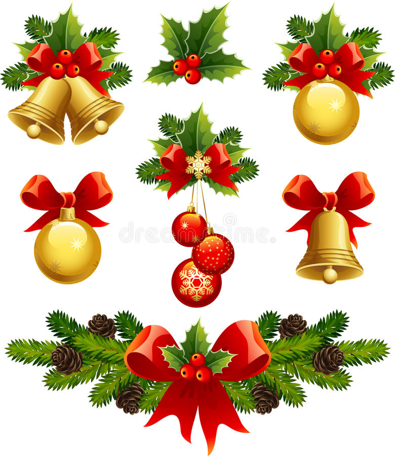 Christmas ornaments. Vector illustrations - christmas ornaments icons