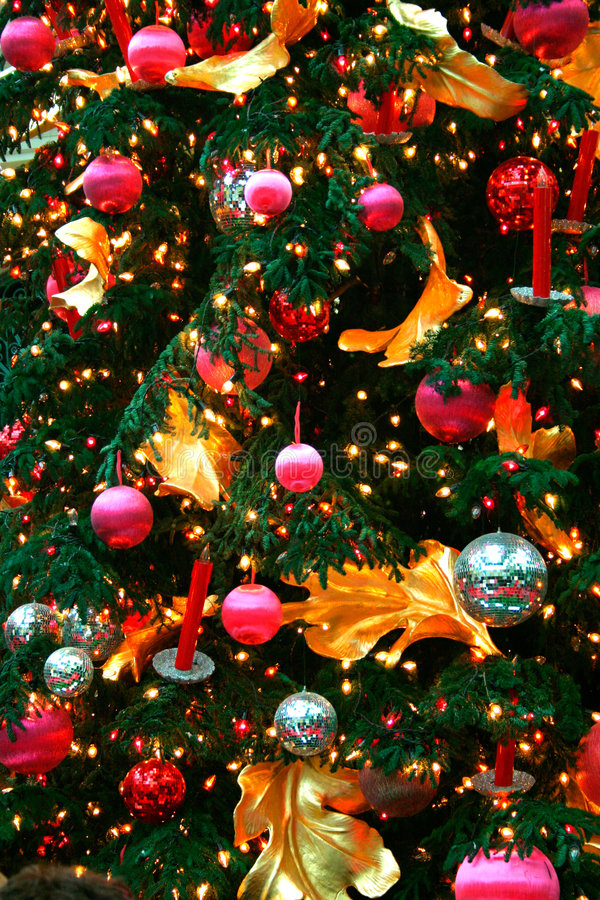 Christmas Ornaments. On a Christmas tree stock photo