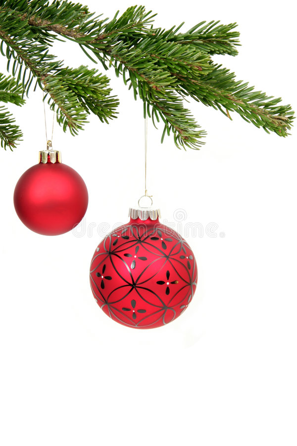 Christmas ornaments. Red Christmas Ornaments Hanging From Christmas Tree
