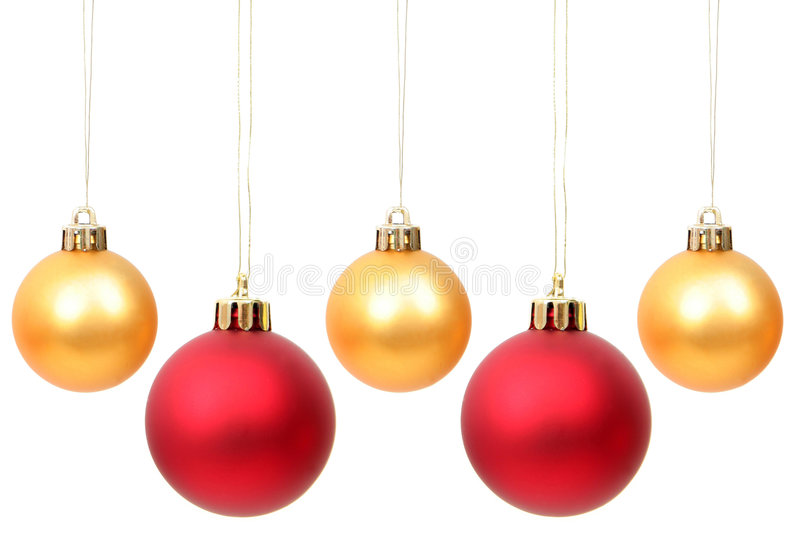Christmas Ornaments. Hanging Over White Background