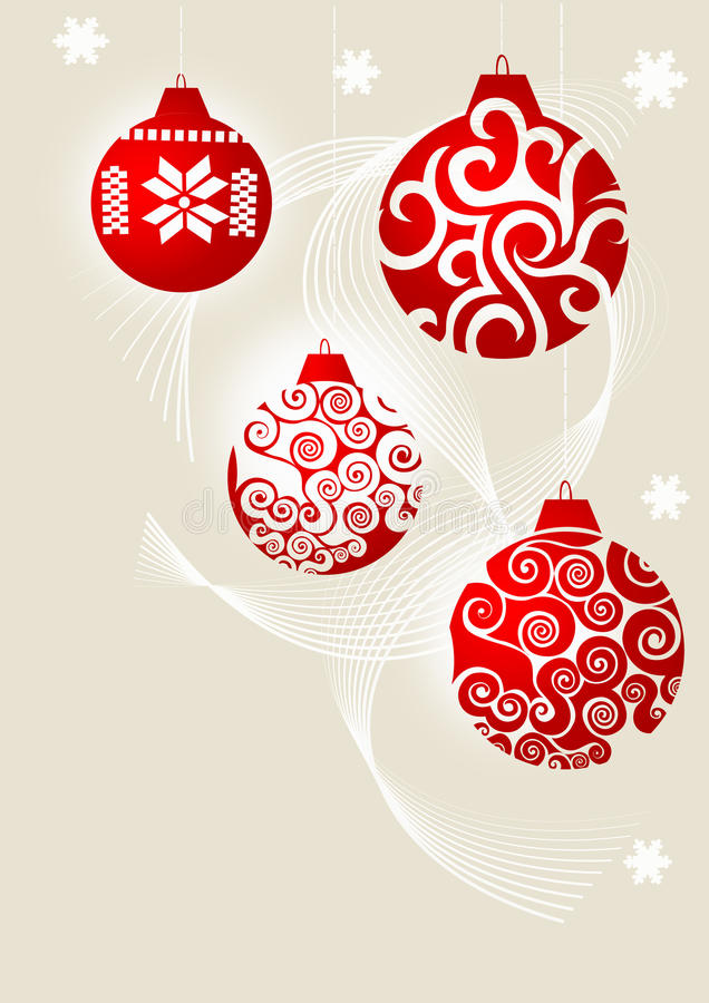 Christmas Ornaments. In Red with abstract design on a gray background stock illustration