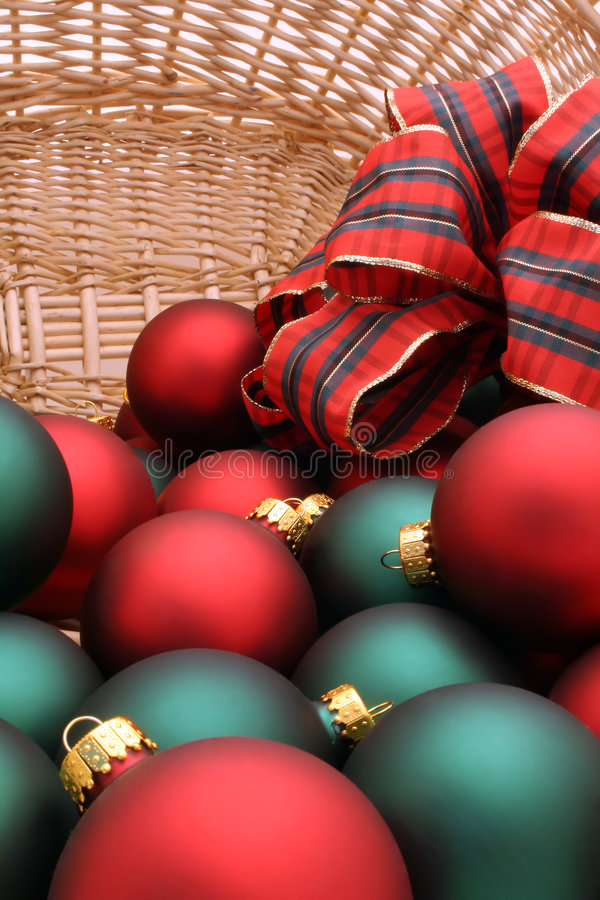 Christmas Ornaments in a Basket Series - Ornaments1 royalty free stock photography