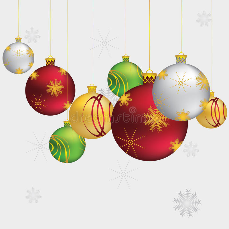 Christmas ornaments. Beautiful Christmas balls, decorative ornaments on grey background stock illustration