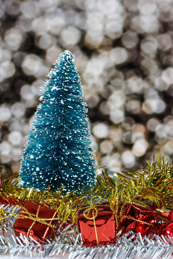 Christmas ornaments. With blurred light abstract background royalty free stock image