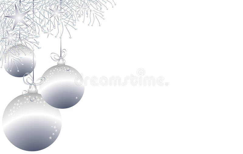 Christmas Ornaments Border 3. A clip art illustration of a decorative Christmas border with holiday embellishments of snowflakes and ornaments in silver colors vector illustration