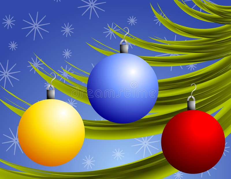 Christmas Ornaments on Branch vector illustration