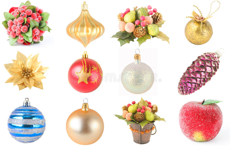 Christmas ornaments, collage royalty free stock images