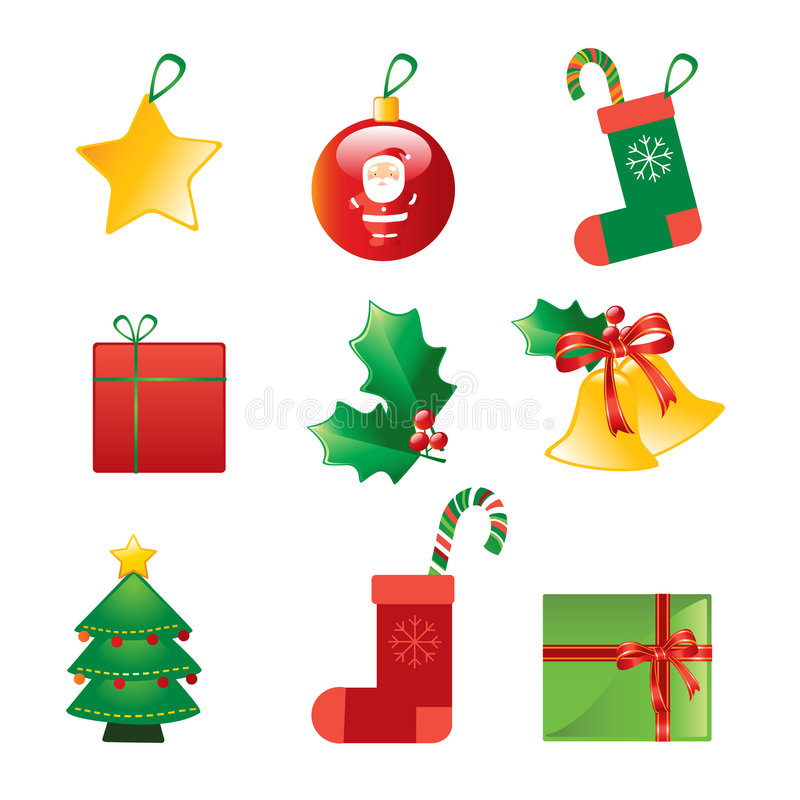 Christmas ornaments collection vector illustration