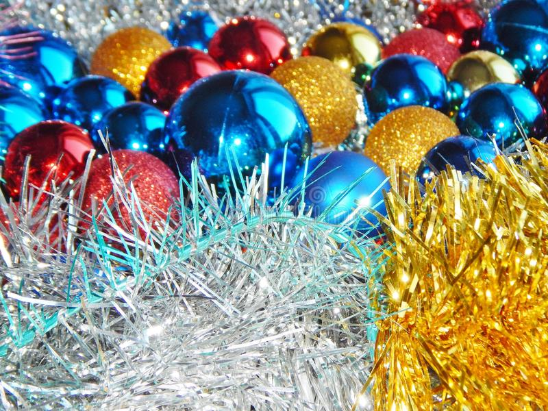 Christmas ornaments, decorations, still life, background, composition. Christmas still life. Christmas composition of balls. Artistic blur royalty free stock photo