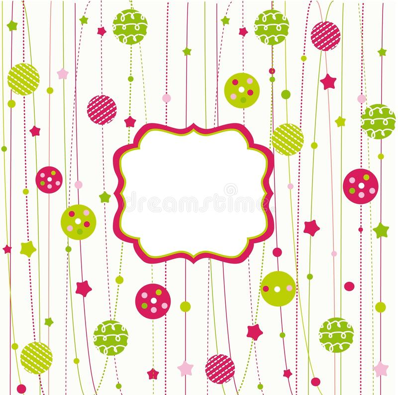 Christmas ornaments with frame. Background vector illustration
