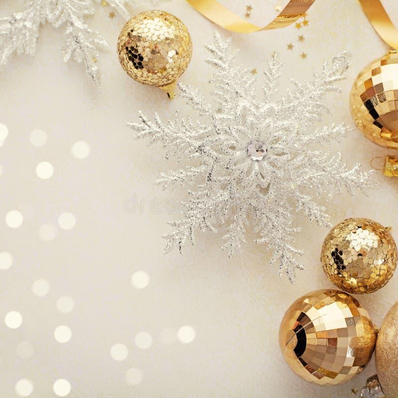 Christmas ornaments frame stock photos