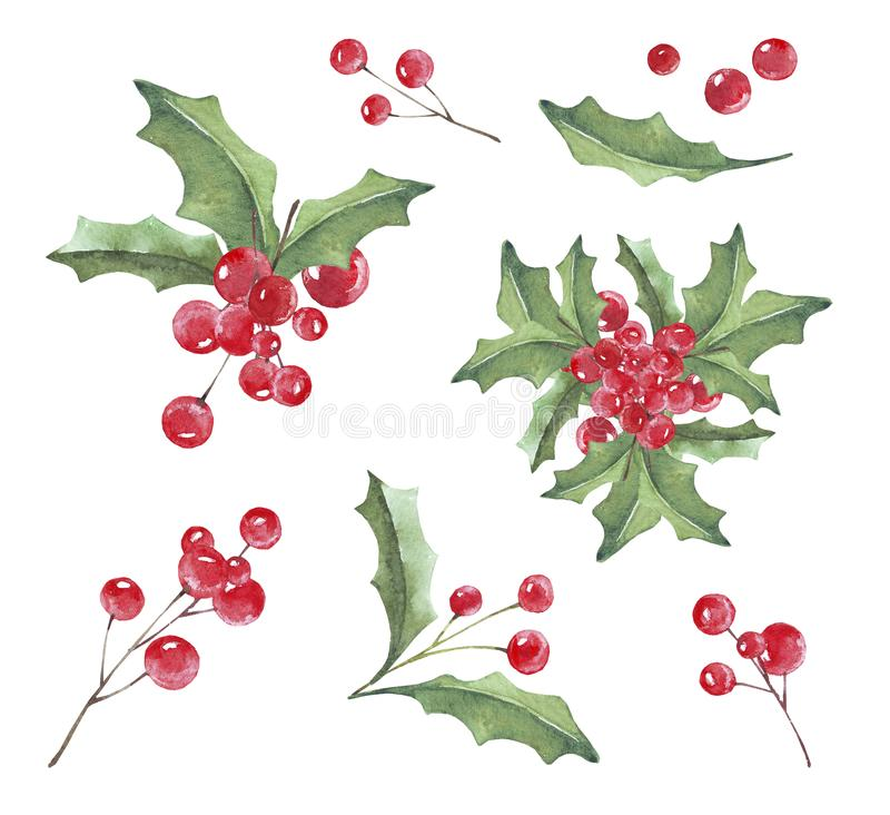 Free Christmas Ornaments From The Branches Painted With Watercolors On White Background. Branches Of Trees. Holly Sprigs With Red Berri Stock Photography - 161067872